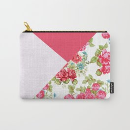 Geometric pink red white roses floral color block pattern Carry-All Pouch