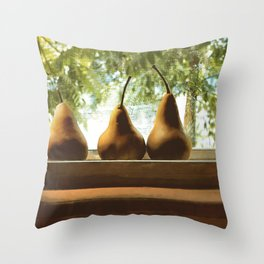Summer Pear Ripening By Screened Window Throw Pillow