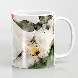 White Hibiscus with Green Background Coffee Mug