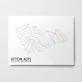 Afton Alps, MN - Minimalist Trail Art Metal Print