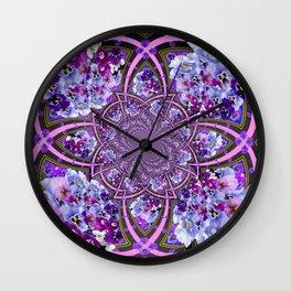 ORNATE PURPLE PANSY GALAXY ART Wall Clock