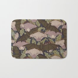 Vintage Art Deco Bat and Flowers Bath Mat
