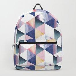 Watercolor geometric pastel colored seamless pattern Backpack