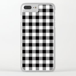 90's Buffalo Check Plaid in Black and White Clear iPhone Case