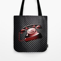 telephone Tote Bags featuring TELEPHONE by Ylenia Pizzetti