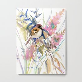 The Sparrow in the Garden Metal Print