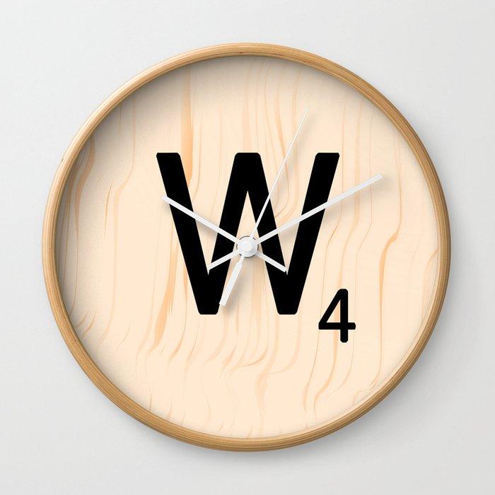 Scrabble Letter W - Scrabble Art and Apparel Wall Clock