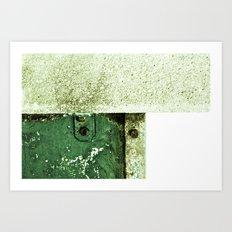 White Green Concrete Art Print