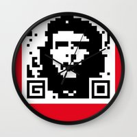 che Wall Clocks featuring QR- Che by Greg-guillemin