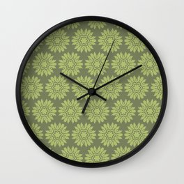Army Green Flowers Wall Clock