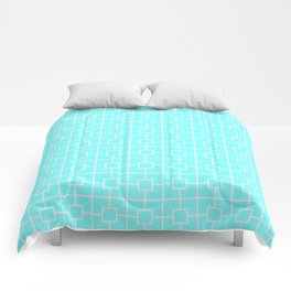 Spring Blue Square Chain Pattern Comforters