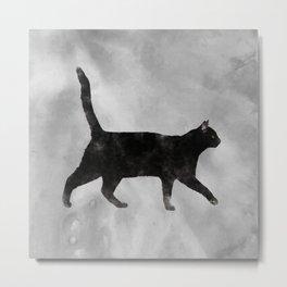 Black Watercolor cat Metal Print