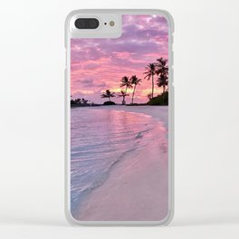 SUNSET AND PALM TREES Clear iPhone Case