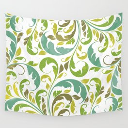 Whimsical Leaf Pattern in Green and White Wall Tapestry