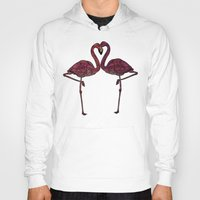 flamingos Hoodies featuring Flamingos by Ben Geiger