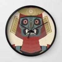 samurai Wall Clocks featuring Samurai by James White