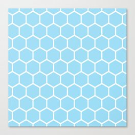 White and light blue honeycomb pattern Canvas Print