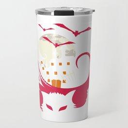 Halloween Cat Haunted House Bats Moon Travel Mug