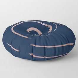 Navy Blue and Rose Gold Swirls Pattern Floor Pillow