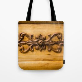 Wooden decor on an old cabinet Tote Bag