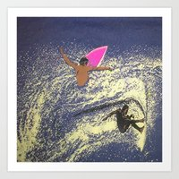 surfing Art Prints featuring SURFING by aztosaha