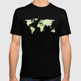 World Map Light Green Planet T-shirt