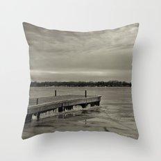 Frozen Dock Throw Pillow