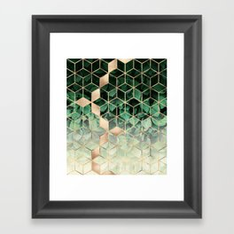 Leaves And Cubes Framed Art Print