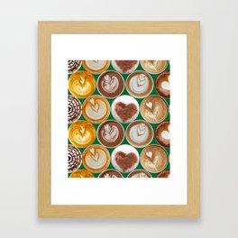 Latte Polka Dots in Winter Green Framed Art Print