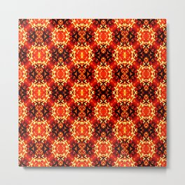 Orange black geometric ornament retro vintage pattern Metal Print