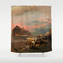 View of Ischia and Maronti Beach with Aragonese Castle by Oswald Achenbach Italian Landscape Shower Curtain