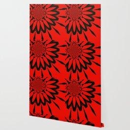 The Modern Flower Red & Black Wallpaper