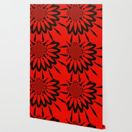 The Modern Flower Red & Black Wallpaper