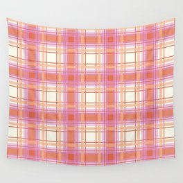 Peach Plaid with Pink and Yellow Wall Tapestry