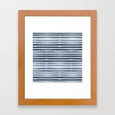 Simply Shibori Stripes Indigo Blue on Sky Blue Framed Art Print