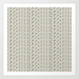 Modern abstract gray ivory hand painted brushstrokes pattern Art Print