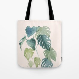 Retro watercolor palms in blushpink and emerald Tote Bag