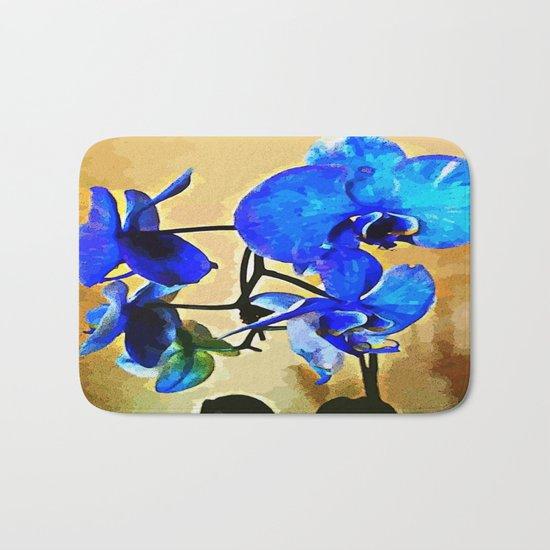 Painted Blue Orchid Bath Mat