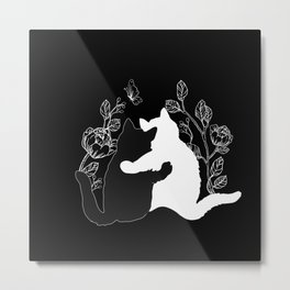 Black and white cats,floral decor Metal Print