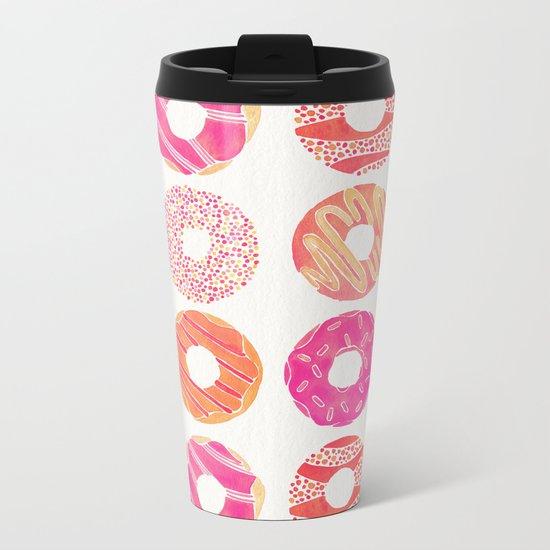 Half Dozen Donuts – Pink & Peach Ombré Metal Travel Mug