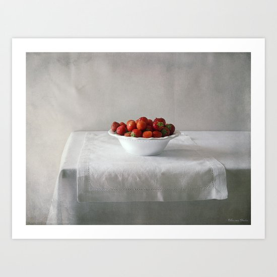 Still life with strawberries. Art Print