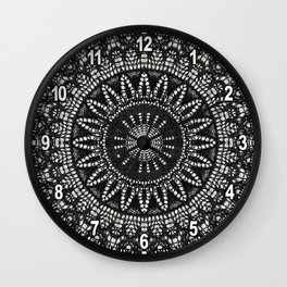 Ebony Lace Mandala Pattern Wall Clock