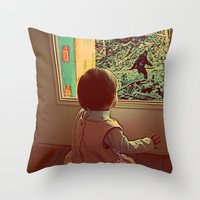 bigfoot Throw Pillows featuring Hello Bigfoot! by Silvio Ledbetter
