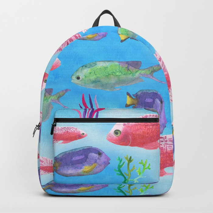 The deep sea-fishes in the sea- watercolor illustration Backpack