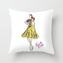 """Hayworth Design Fashion Illustration """"Fashionable Girl in Yellow Dress with Flowers"""" Throw Pillow"""