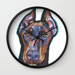 Fun Doberman Pinscher Dog Portrait bright colorful Pop Art by LEA Wall Clock