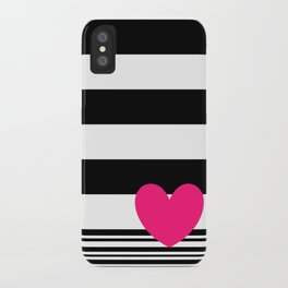 Black and white stripes and neon pink heart iPhone Case