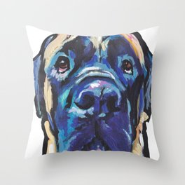 Fun ENGLISH MASTIFF Dog bright colorful Pop Art Painting by LEA Throw Pillow
