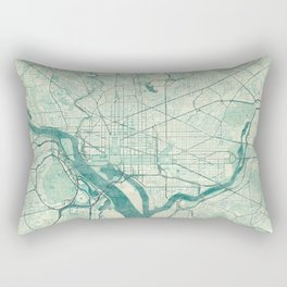 Washington Map Blue Vintage Rectangular Pillow