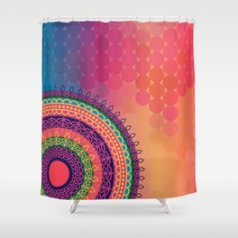 Ethnic Mandala on geometric pattern Shower Curtain